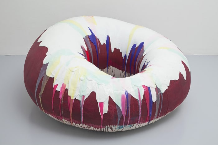 Red Donut with White and Pink Glaze by Nathalie Djurberg & Hans Berg