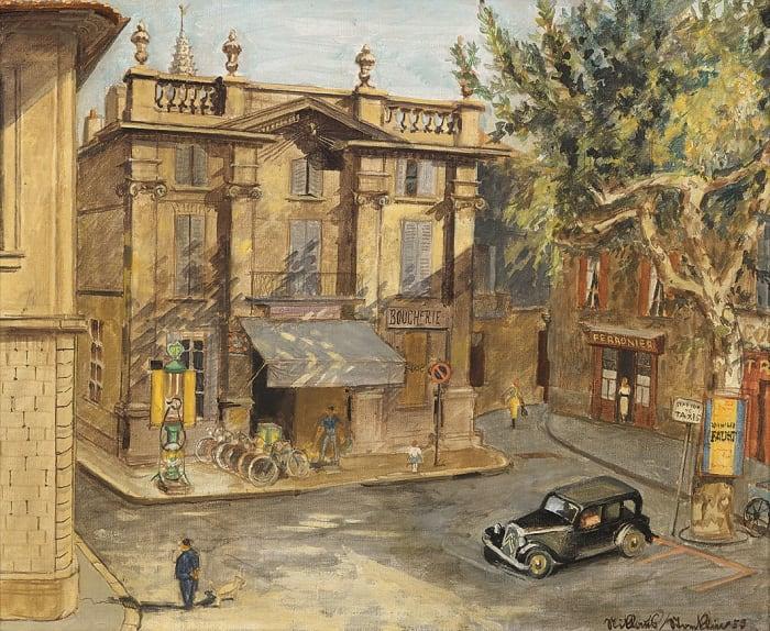Ansicht eines Platzes in Avignon by Niklaus Stoecklin