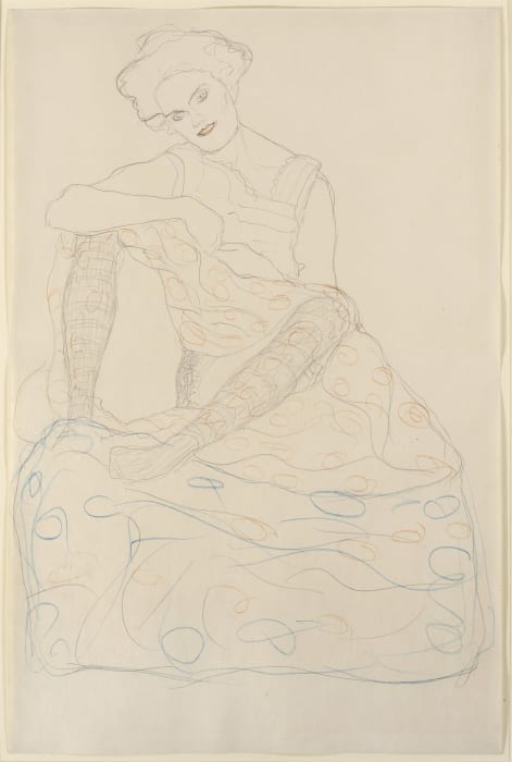 Seated Semi Nude with Spread Legs by Gustav Klimt