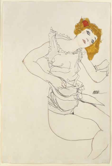 Blond Girl in Underwear by Egon Schiele