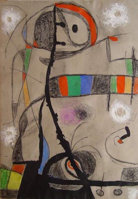 Femme, oiseaux (oiseaux dans la nuit) by Joan Miró