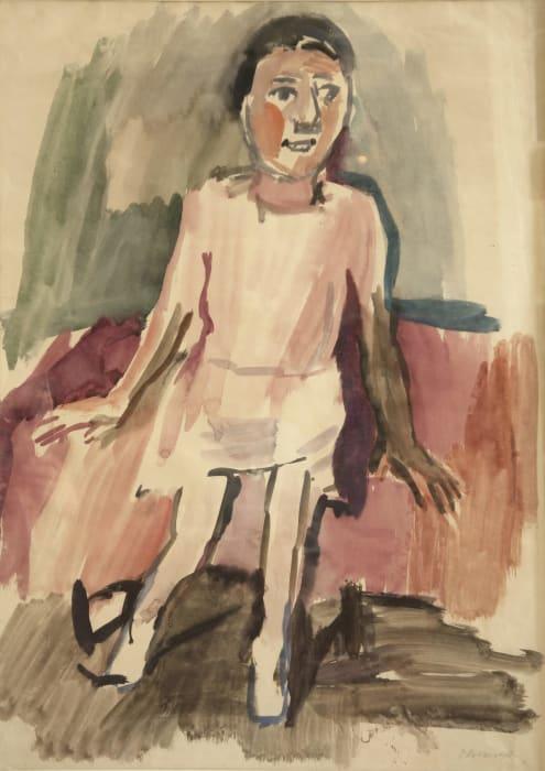 Mädchen auf rotem Sofa / Girl on Red Sofa by Oskar Kokoschka