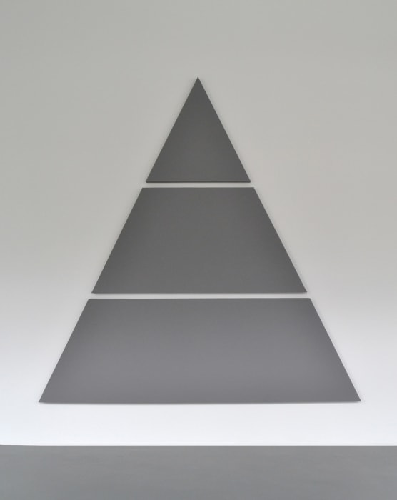 Divide Triangle Painting (3 parts) by Alan Charlton