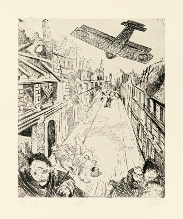 Lens wird mit Bomben belegt by Otto Dix