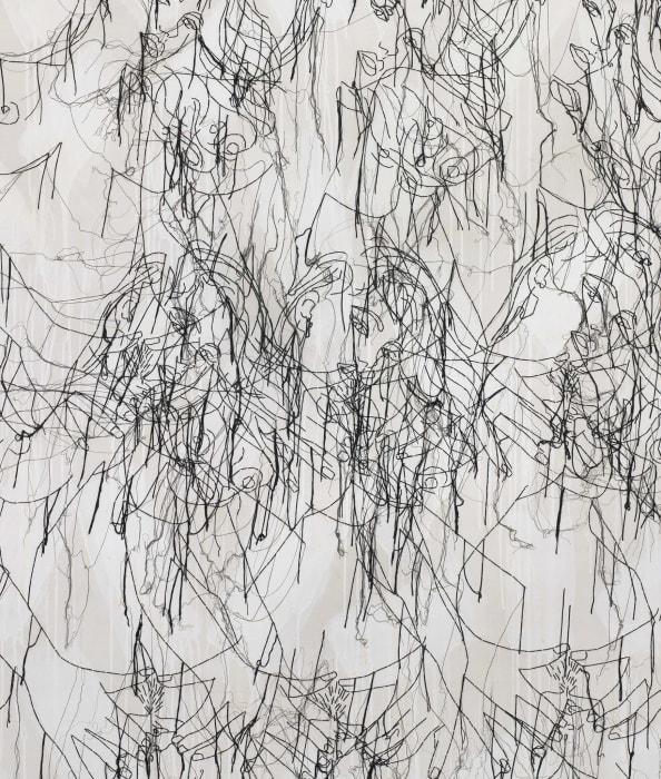 Grey Big Figures on White by Ghada Amer