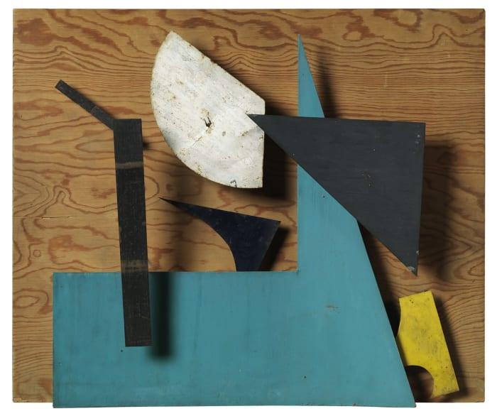 Méta-mécanique - Sprit - Bleu ocre et vert by Jean Tinguely
