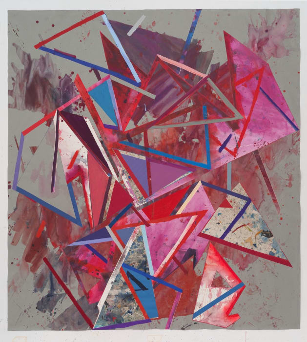 Untitled (lrg.gry.ppr.rd.bl.trngls.) by Lecia Dole-Recio