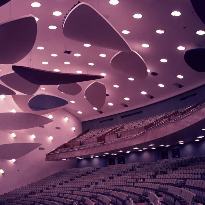 Architect Carlos Raúl Villanueva in Collaboration with Alexander Calder. Aula Magna auditorium, Ciudad Universitaria de Caracas, 1954. (Purple) From the series 'Modern Entanglements, U.S. Interventions', 2006 - 2009 by Alessandro Balteo-Yazbeck