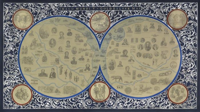 Imago Mundi V. Goldsilver Map by Adriana Bustos
