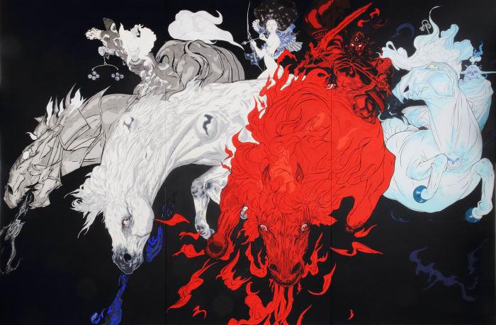 Four Horses by Yoshitaka Amano