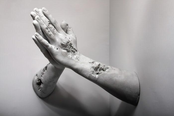 Selenite Hands in Prayer by Daniel Arsham