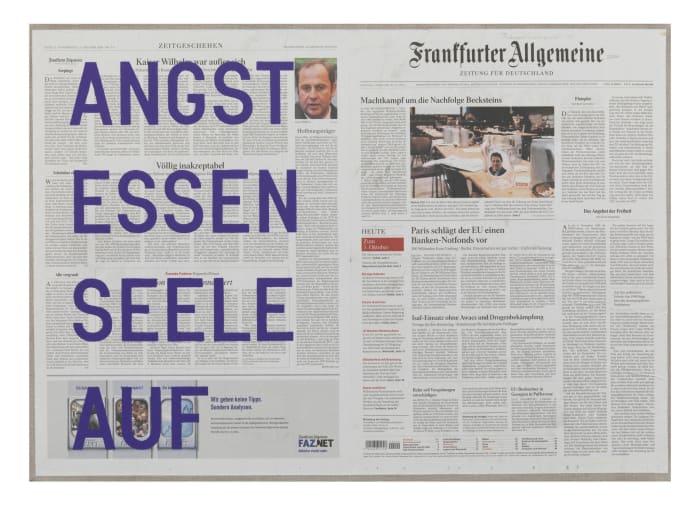 untitled 2010 (angst essen seele auf - october 02, 2008) by Rirkrit Tiravanija