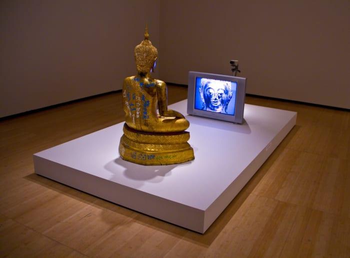 Golden Buddha by Nam June Paik