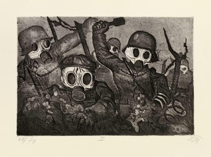 Sturmtruppe geht unter Gas vor by Otto Dix