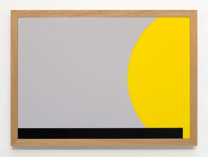 acrylic, frame: oiled oak, 90 x 125 x 5 cm by Gerwald Rockenschaub