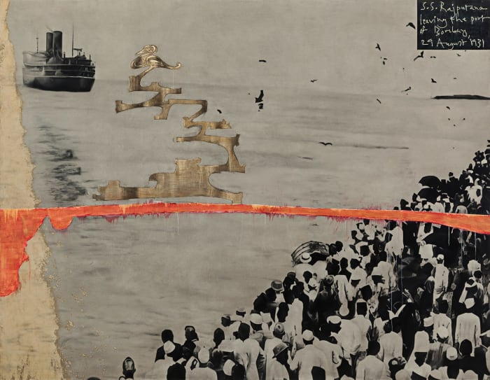 S.S. Rajputana leaving the port of Bombay by Atul Dodiya