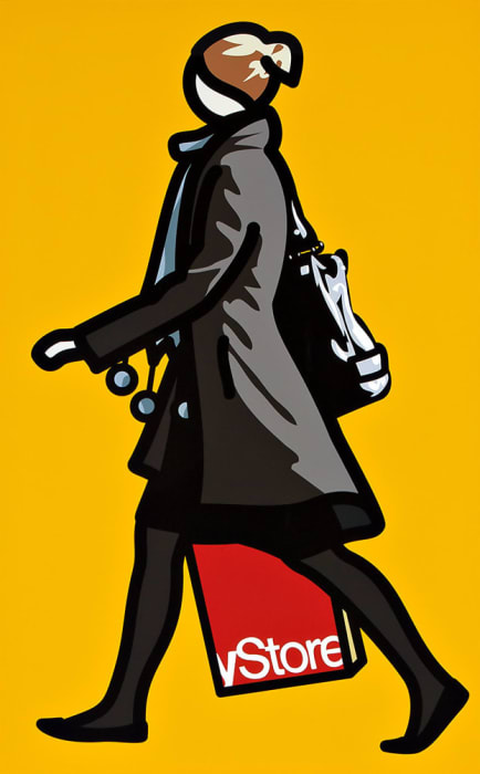 Woman with shopping bag and scarf by Julian Opie