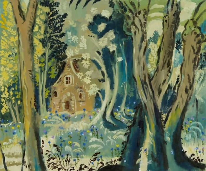 A tapestry of wild flowers - the medieval cottage in the forest clearing by Karen Kilimnik