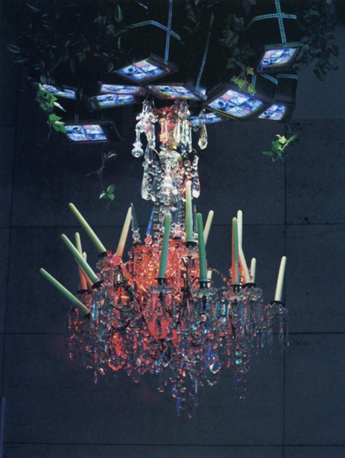 Video chandelier X by Nam June Paik