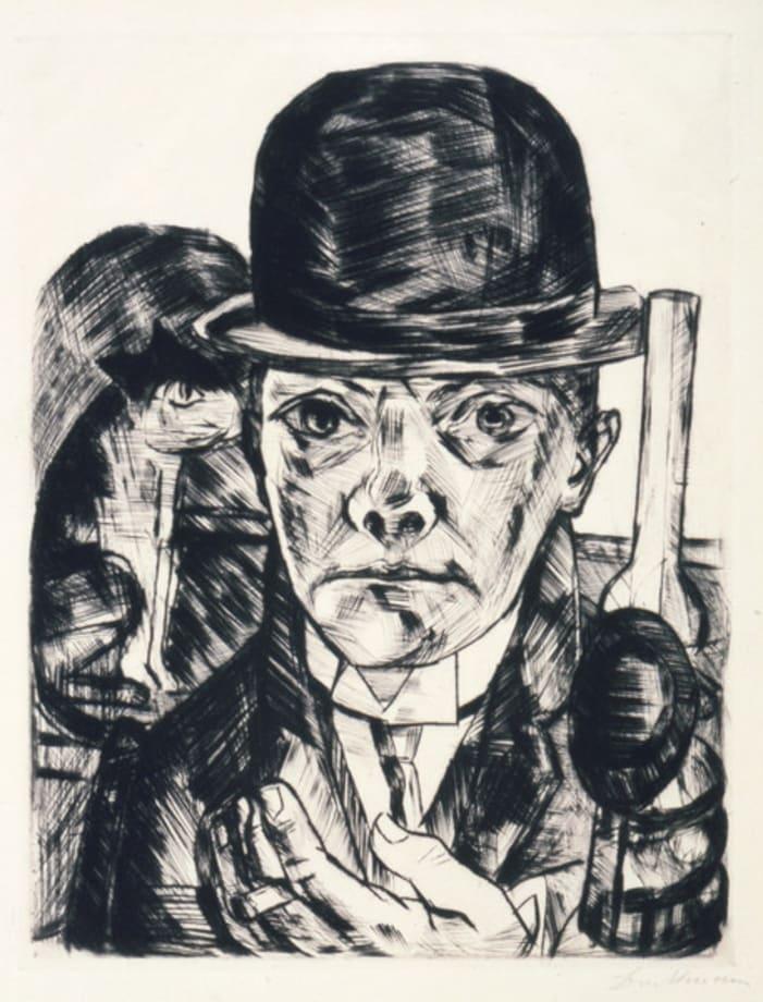 Selbstbildnis mit steifem Hut / Self-Portrait in Bowler Hat by Max Beckmann