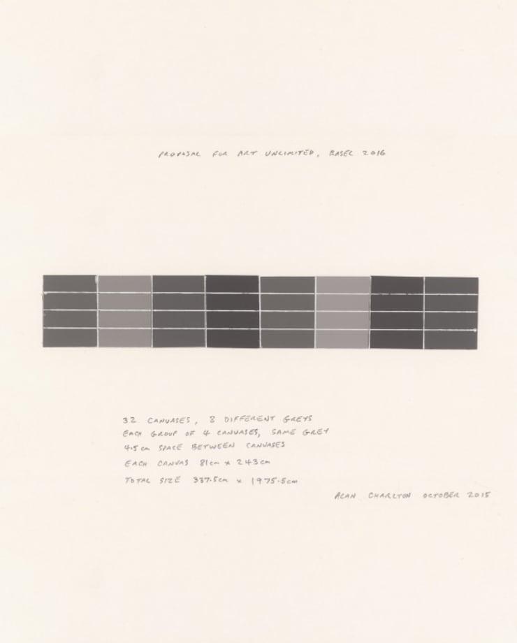 Wall of 8 greys by Alan Charlton