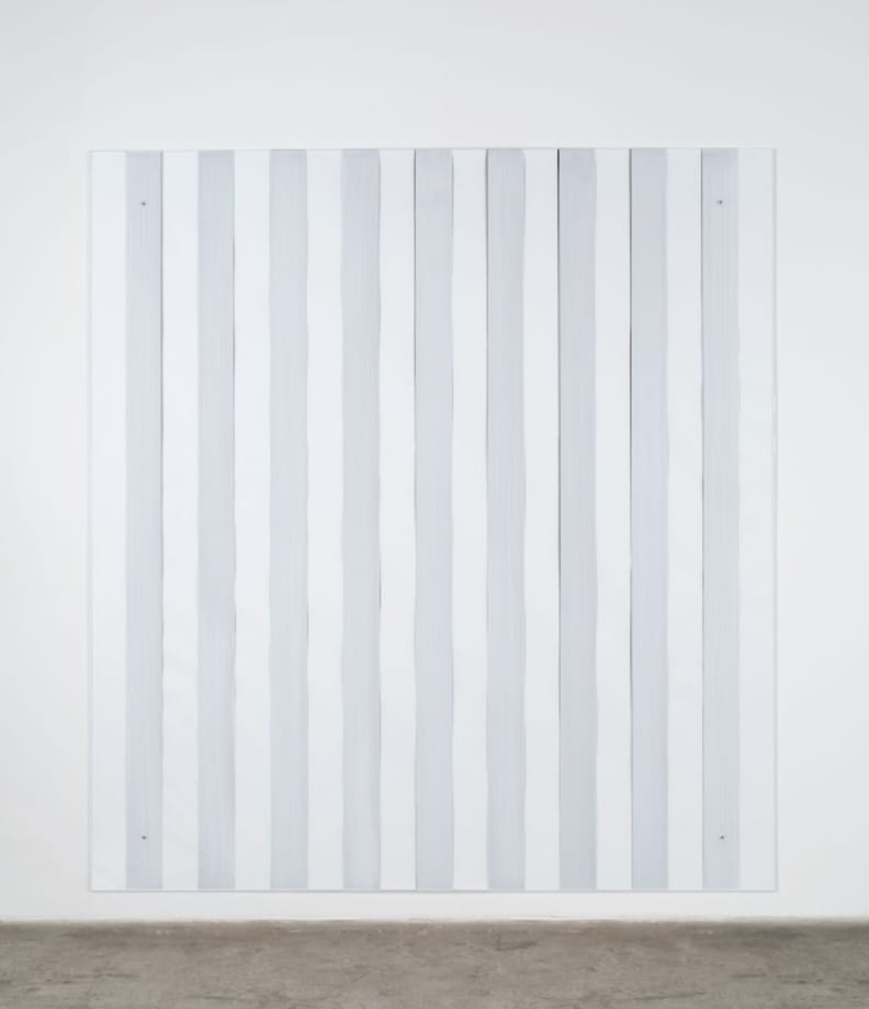 Painting on/under Plexiglas over canvas, new series Made in USA, black by Daniel Buren