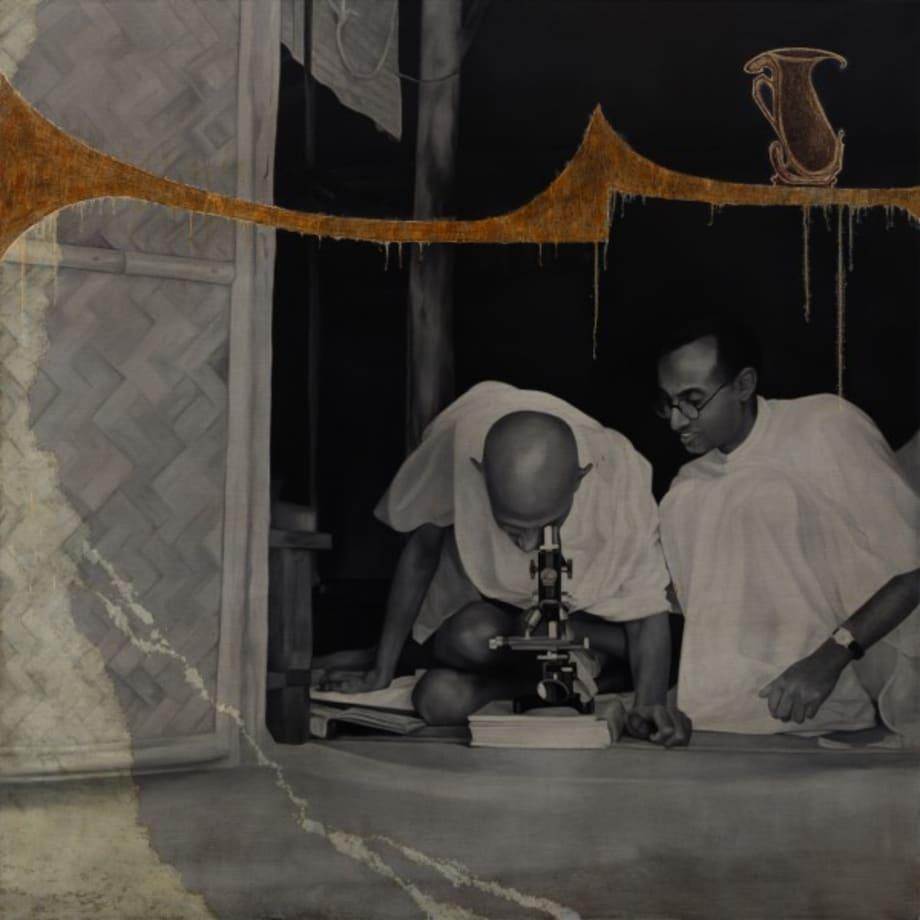Looking through a microscope at Sevagram Ashram, 1940 by Atul Dodiya