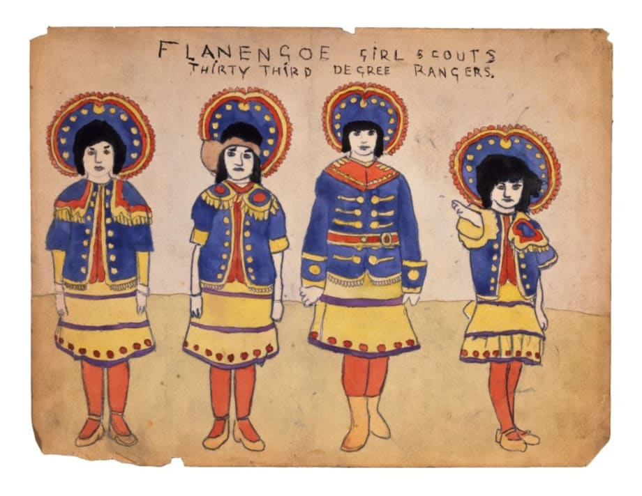 Flanengoe Girl Scouts Thirty Third Degree Rangers by Henry Darger