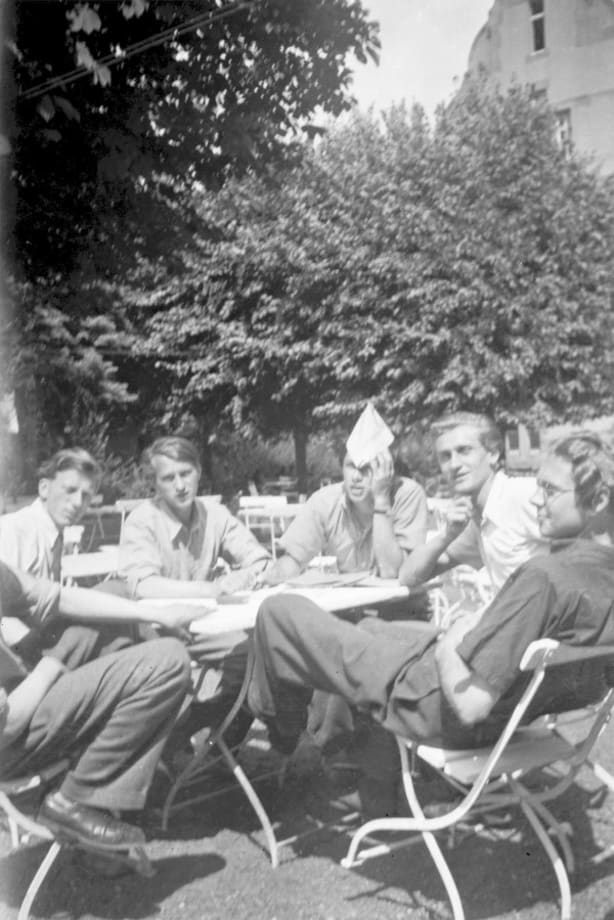 With my new friends, just after arriving in the Wiesbaden D.P. Camp, 1945 by Jonas Mekas