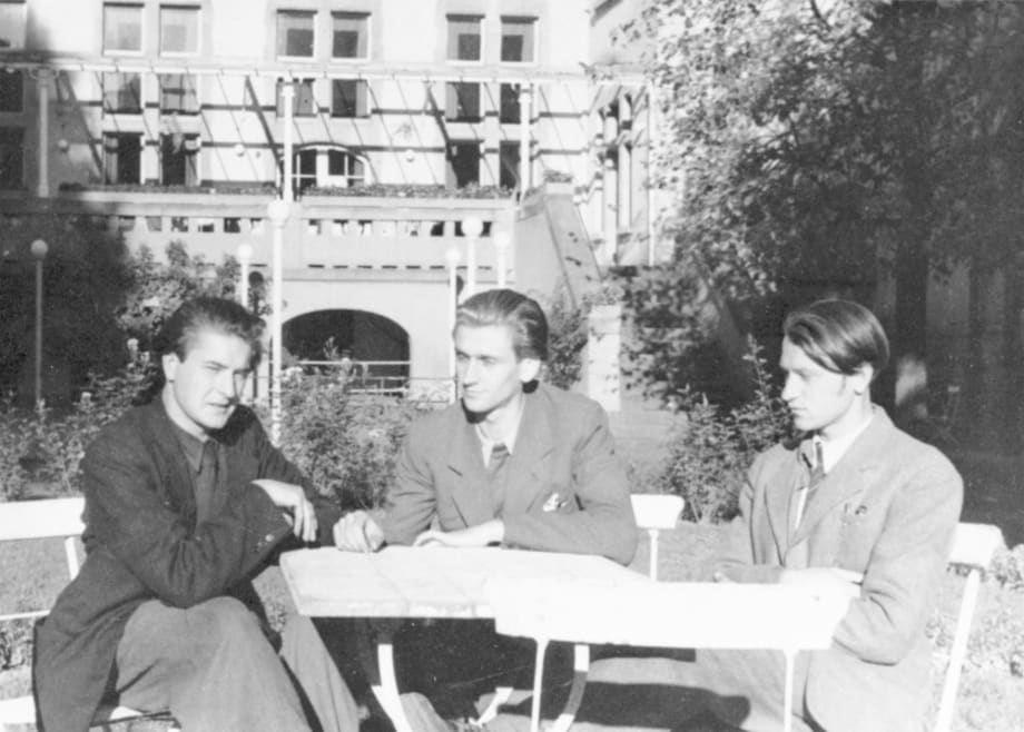 My brother Adolfas, Algirdas Landsbergis and myself, Wiesbaden, 1945 by Jonas Mekas