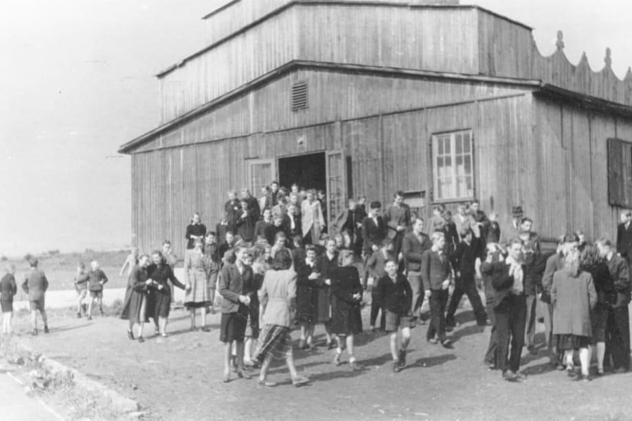 Kassel/Mattenberg, the camp school/movie house/church... 1948 by Jonas Mekas