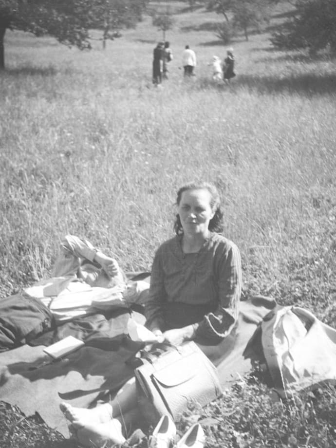 Sometimes we used to escape the camp routine in the neighboring fields. Kassel/Mattenberg D.P. Camp, 1948 by Jonas Mekas