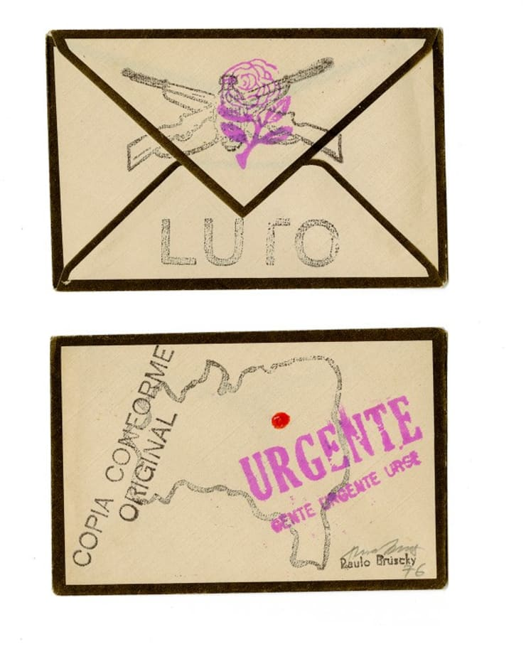Stamps on envelope (carimbos sobre envelope) by Paulo Bruscky