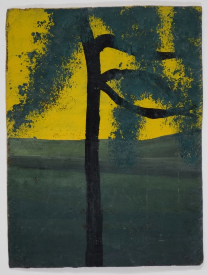 Single Tree With Three Branches Against Yellow Sky by Frank Walter