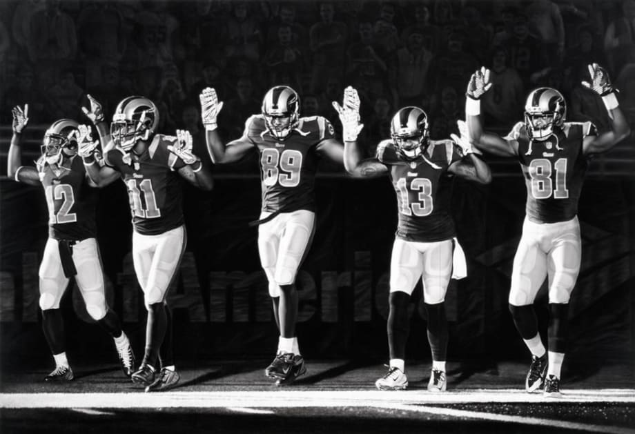 Untitled (Football Players, Rams, Hands Up) by Robert Longo