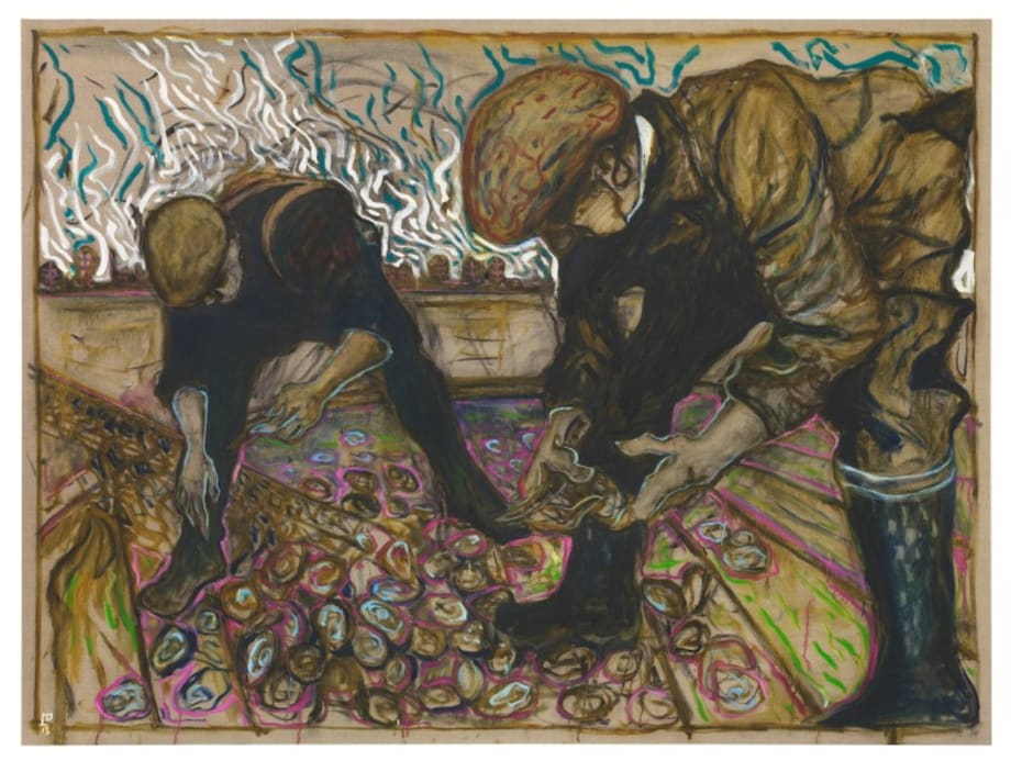 oyster dredgermen (sorting the catch) by Billy Childish