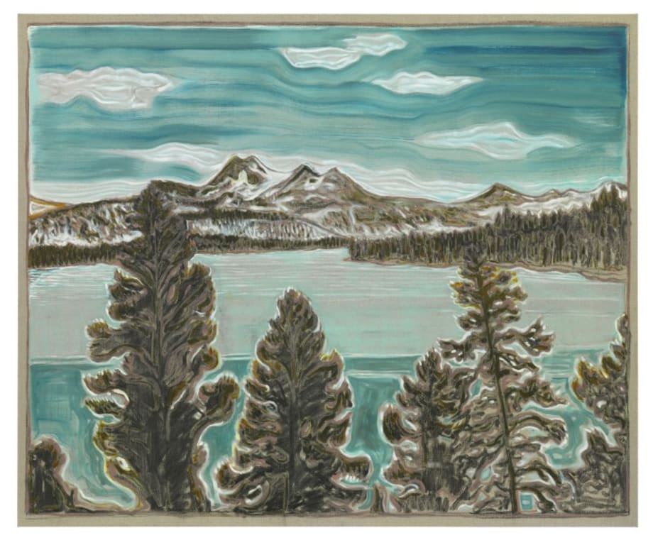 trees and fjord by Billy Childish