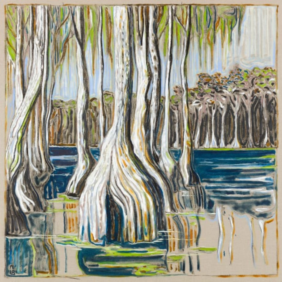 white cypress trees by Billy Childish