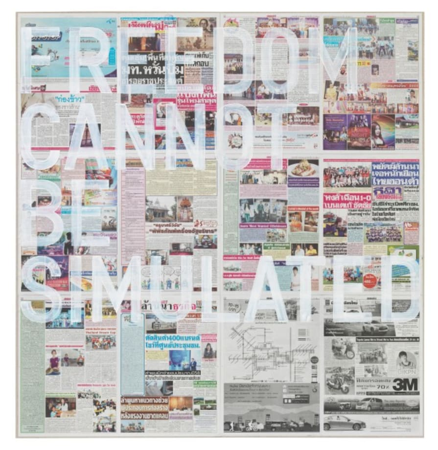 untitled 2016 (freedom cannot be simulated, chiang mai news, august 19, 2015) by Rirkrit Tiravanija