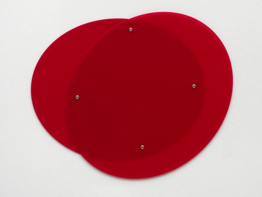 Plexiglass (GS Red 3H00), bolts, washer, 2 parts, 66 x 80 x 0.6 cm by Gerwald Rockenschaub