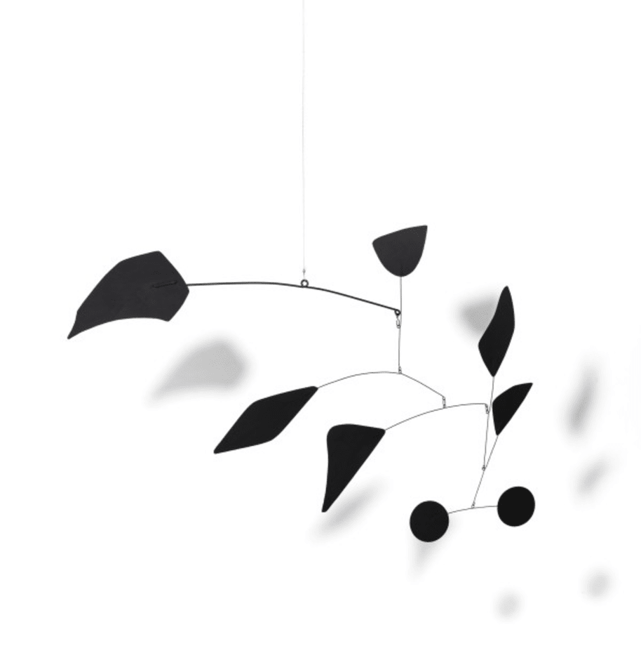 Two black discs and six others by Alexander Calder