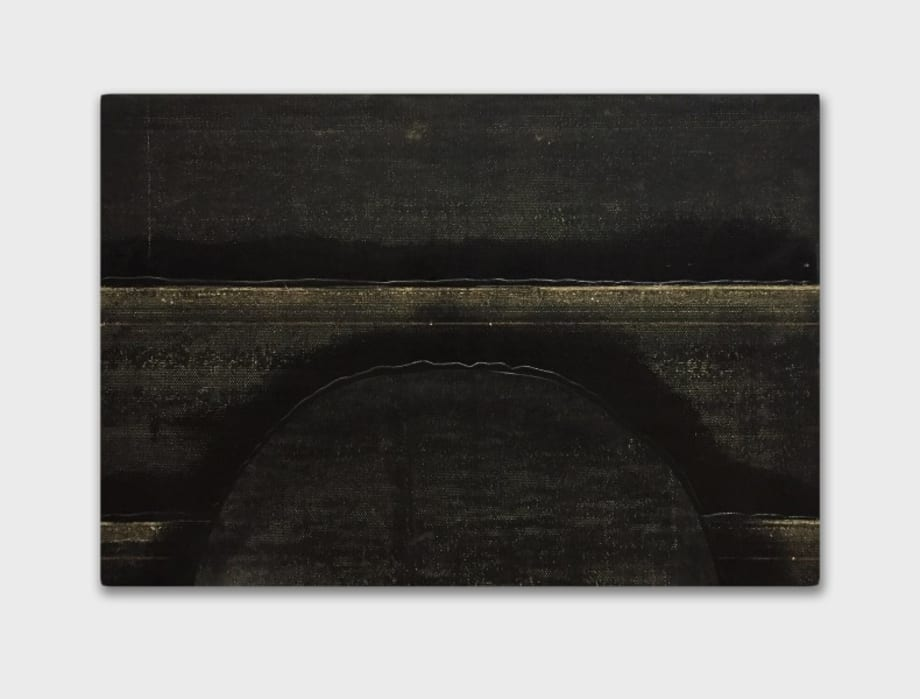 Descending sun with double horizon by Theaster Gates
