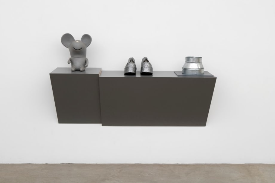 Untitled (mouse, shoes, duct) by Haim Steinbach