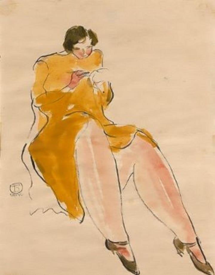 Femme en jaune by San yu