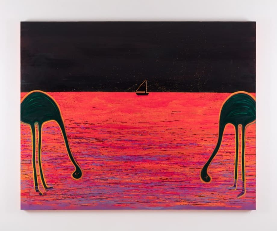 Two Flamingoes by Hilarie HON