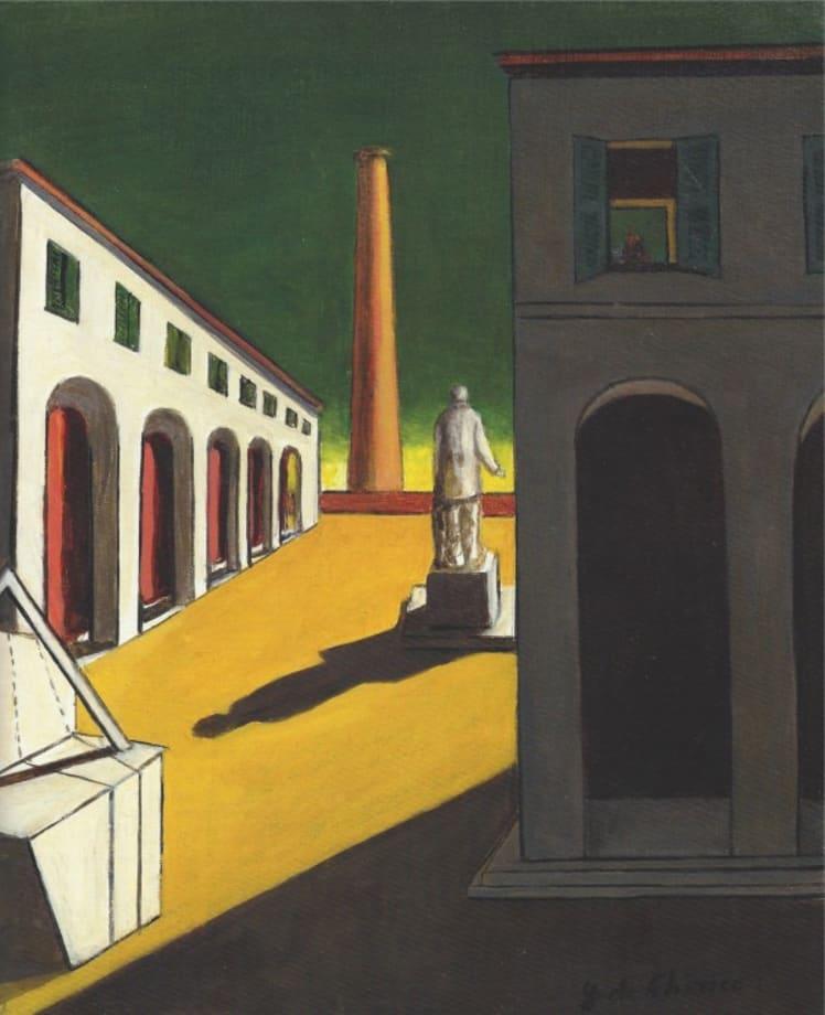 Piazza d'Italia con uomo politico by Giorgio de Chirico