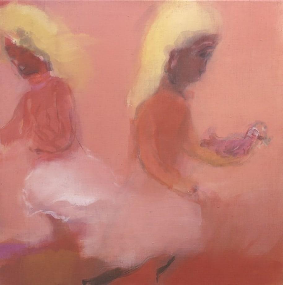 Zwei Rennende in Rosa  by Leiko Ikemura