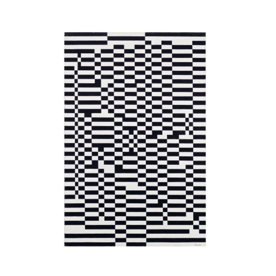 Pannello a scacchi bianchi e neri: iterazioni ritmiche simultanee by Mario Nigro