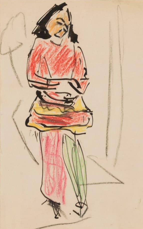 Kostümiertes Mädchen mit verschränkten Armen (Girl in Costume with Folded Arms) by Ernst Ludwig Kirchner