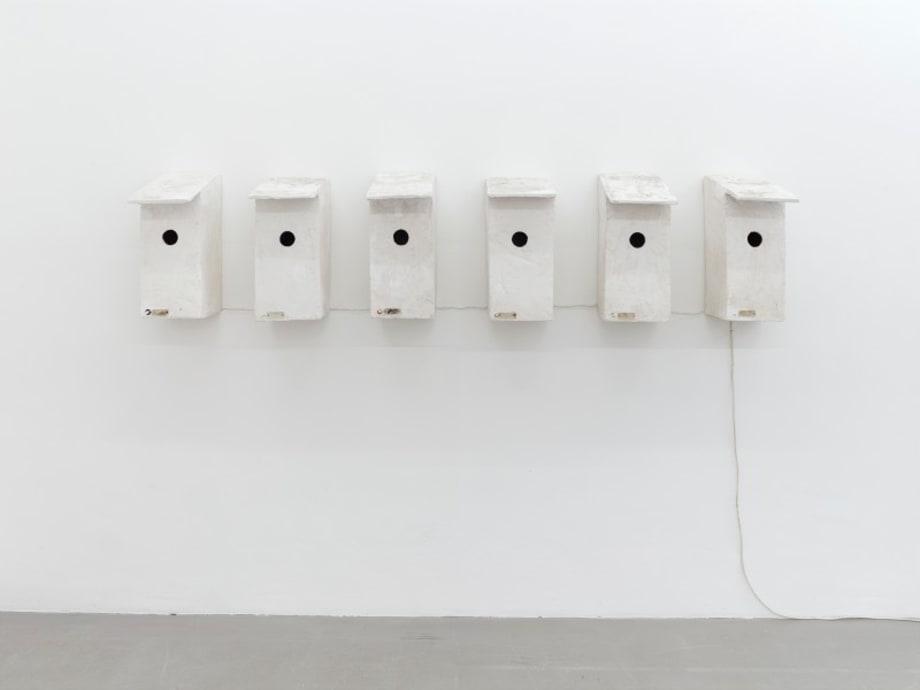 Vogelkästen mit Türklingeln (Bird Boxes with doorbells) by Inge Mahn